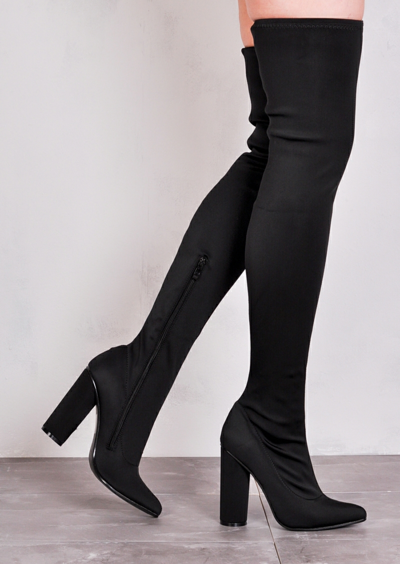 over the knee thigh high long boots in stretchy lycra black DBOGTHB