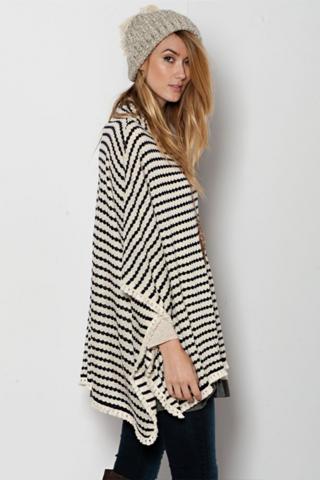 oversized striped poncho sweater KUNJZPP