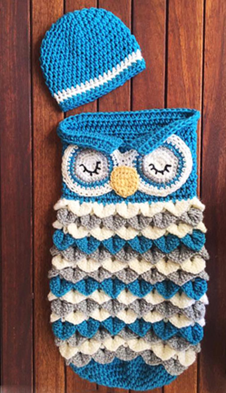 owl crochet baby cocoon set LJLZIMF