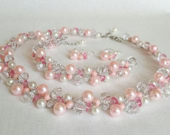 pale pink pearl crochet jewelry set(necklace,bracelet, earrings),bridal pink SGIJOJP