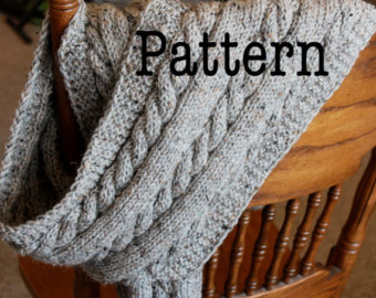 pdf knitting pattern for cabled scarf - cable knit scarf pattern MIEKJLM