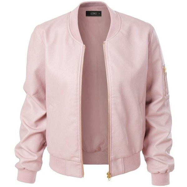 pink jacket le3no womens lightweight faux leather varsity bomber jacket (353.860 idr) ❤  liked on polyvore KMFLZSE