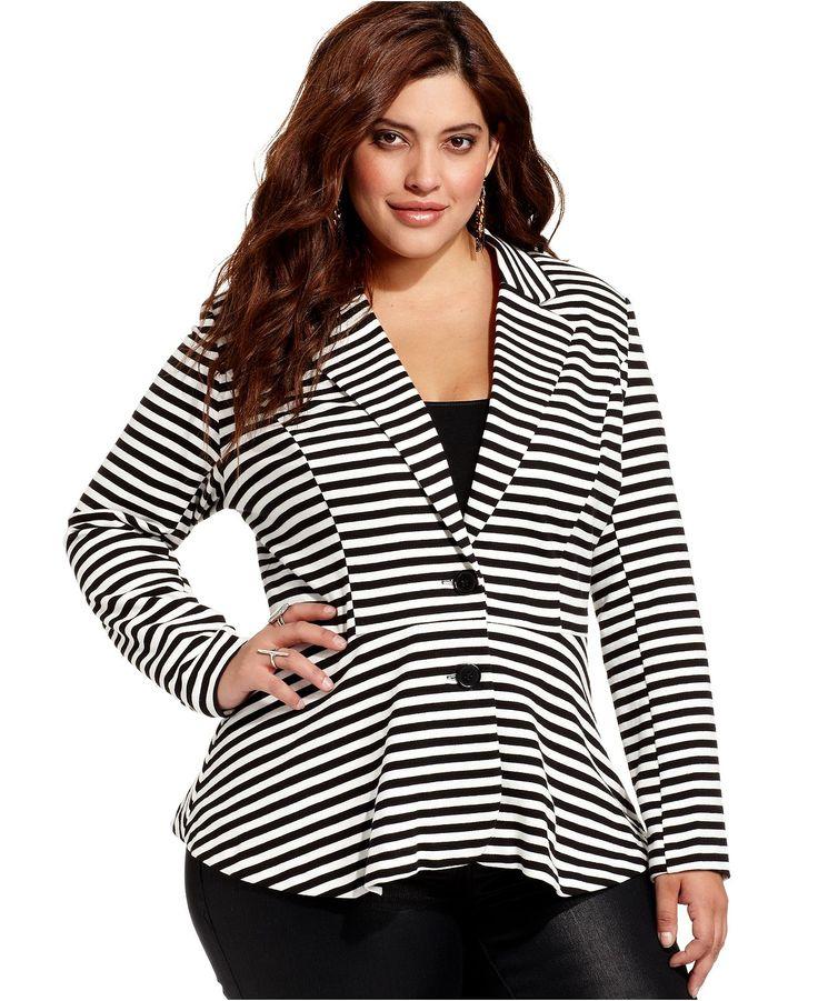 plus size blazers american rag plus size jacket, striped peplum blazer - plus size jackets u0026  blazers LGHAJJG