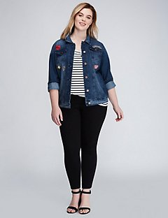 plus size blazers denim jacket with patches QGXCTEO