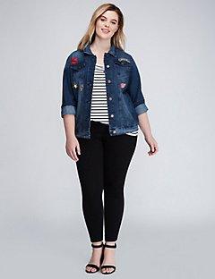 plus size blazers denim jacket with patches QGXCTEO