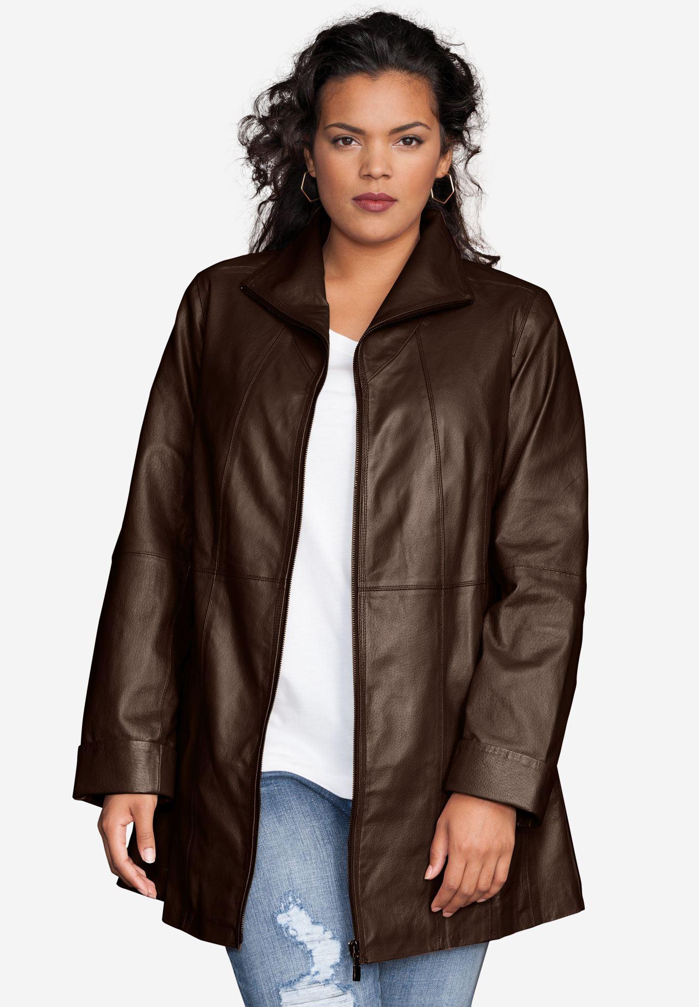 plus size blazers leather a-line jacket ODLPDZZ