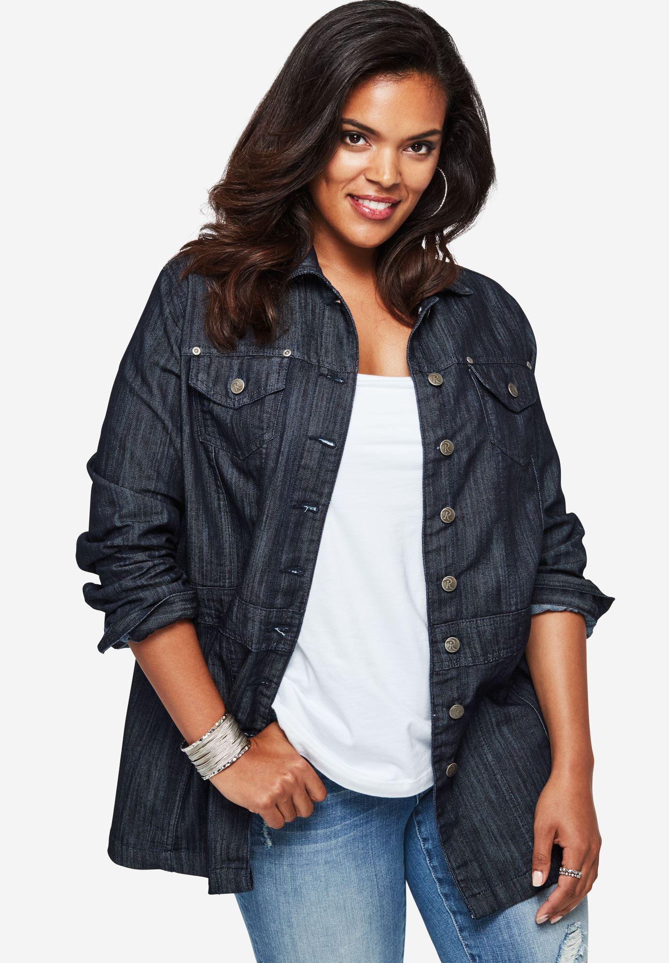 plus size blazers long jean jacket OFJGLWP