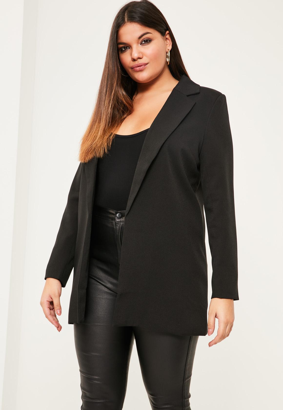 plus size blazers plus size black longline blazer QRCIJBS