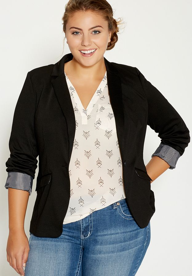 plus size blazers plus size knit blazer with striped cuffs in black ZIGDIPA