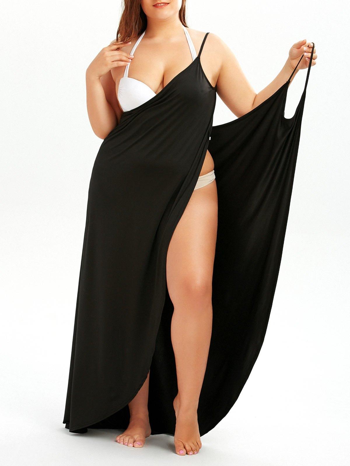 plus size dress ... plus size beach wrap cover up dress - black 5xl ... TCNUFVK