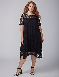 plus size dress short-sleeve lace swing dress EKWIBMD