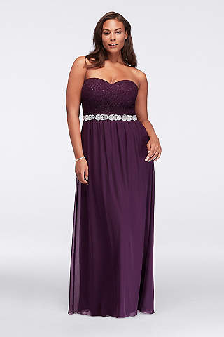 plus size evening gowns davidu0027s bridal. strapless chiffon plus size prom ... PQDBDIC