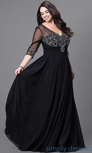 plus size evening gowns dq-8855p - long plus-size formal dress with beading and sleeves LSDEBLF