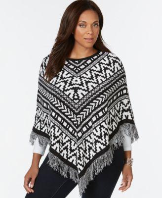 plus size jacquard fringe poncho sweater, only at macyu0027s ZRISSHG