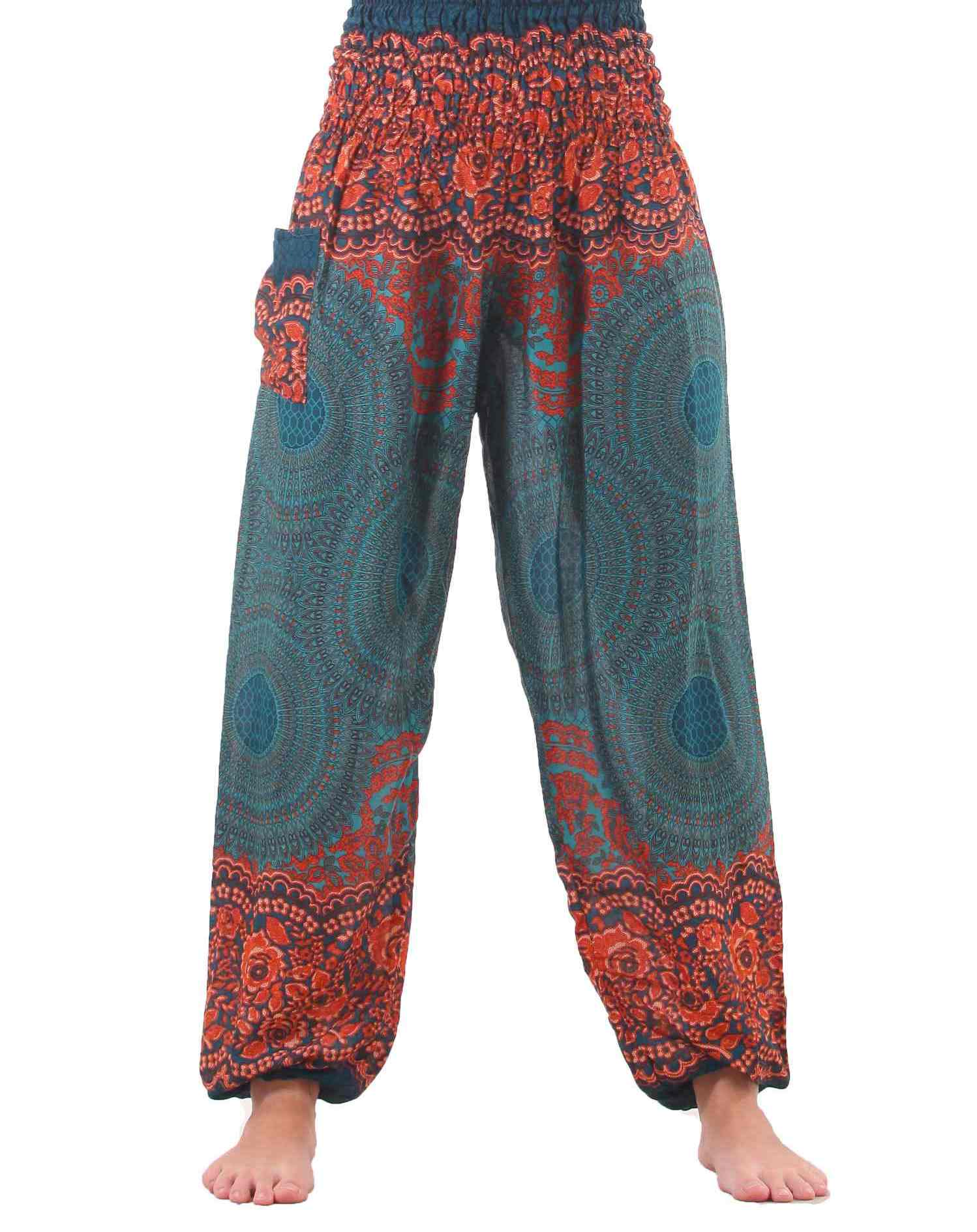 plus size mandala harem hippie pants in turquoise UEZBPKK