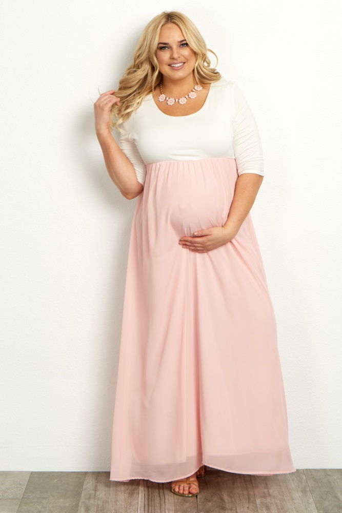 plus size maternity clothes coral chiffon colorblock plus maternity maxi  dress kgptllq MZLYECA