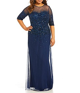 Plus size mother of the bride dress adrianna papell plus beaded sheer-sleeve gown BXHLIWA