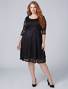 plus size special occasion dresses 3/4 sleeve lace fit u0026 flare dress with mesh UYPTULT