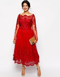 plus size special occasion dresses red lace plus size evening dresses square neck long sleeve tea-length party  prom dress GHDXXNW