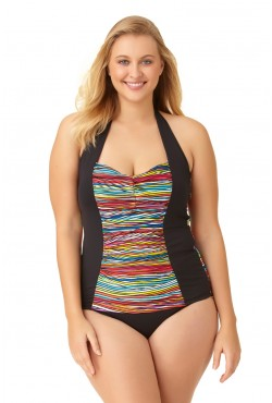 plus size tankini anne cole womenu0027s plus size pick up stix shirred tie halter tankini  swimsuit ... QOXBCJH