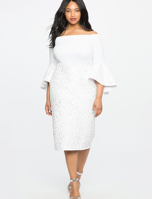 plus size white dress lace ruffle sleeve off the shoulder dress LOPDDAK