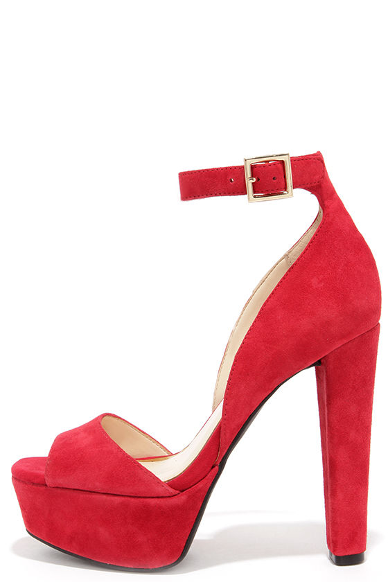 pretty red heels - kid suede heels - platform heels - $95.00 MZDXQTW