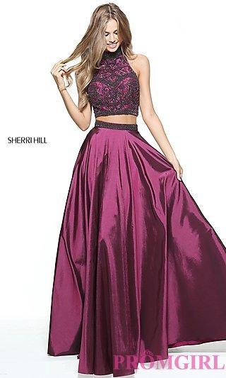 purple prom dresses beaded sherri hill two-piece long prom dress-promgirl YISHSSO