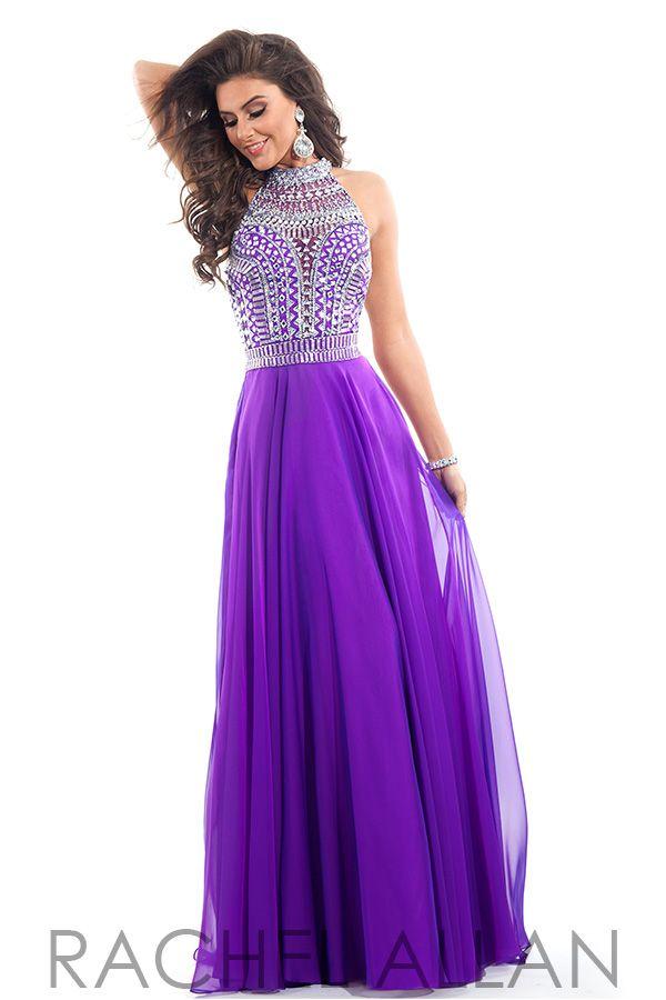purple prom dresses rachel allan prom 6810 chiffon a-line with heavily beaded high neck bodice NPSOAVE