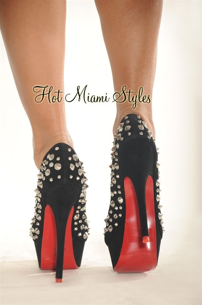 red bottom heels black silver studded high heel red bottom pumps UUJVQZR