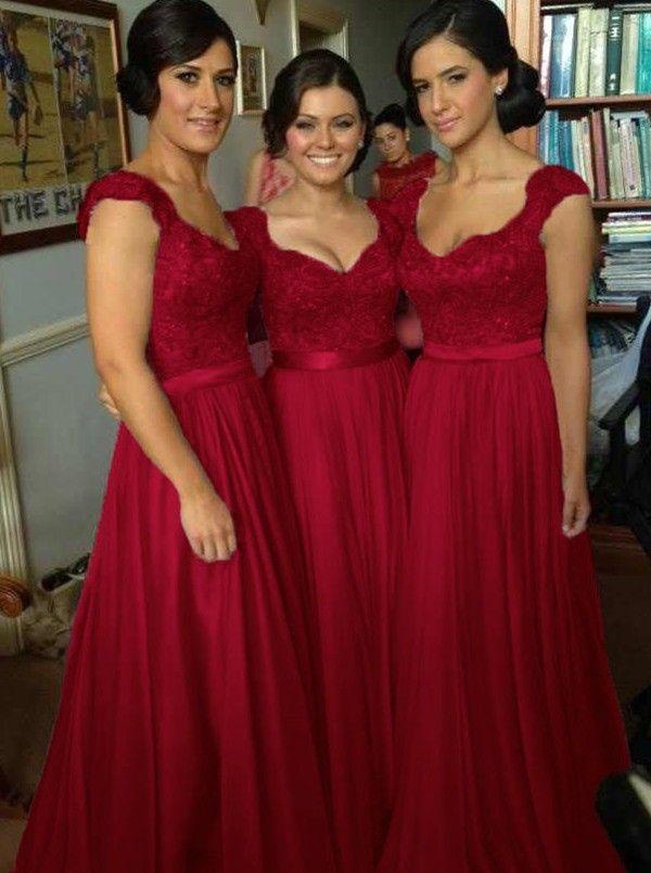 red bridesmaid dresses buy elegant v-neck floor length chiffon sleeveless red bridesmaid dress  bridesmaid dresses under us JJXXBAT