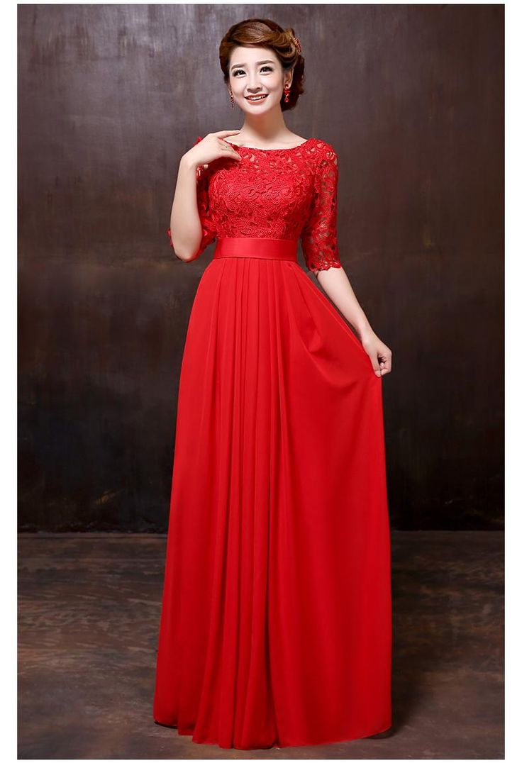 red bridesmaid dresses the new 2015 red wedding dresses long toast the bride lace evening dress to XINGOBW