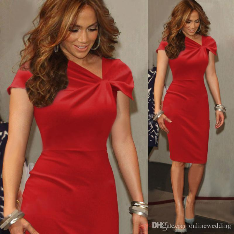 red cocktail dress knee length women red cocktail dresses cap sleeves sheath short formal  dresses for ladies RUEPYOF