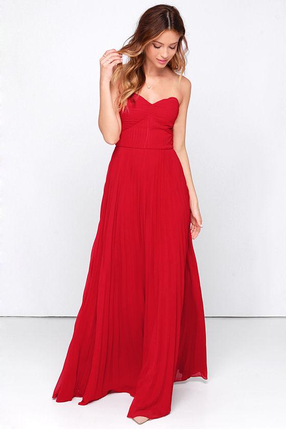 red maxi dress red dress - maxi dress - strapless dress - pleated dress - $89.00 DXJDGQT