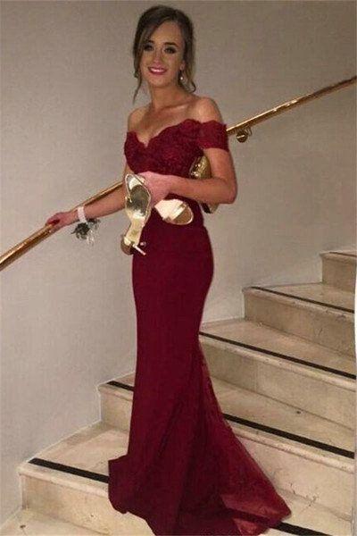 red prom dress off shoulder red prom dresses, long mermaid prom dresses, sexy bridesmaid  dresses, 2017 bridesmaid LYBVOPT