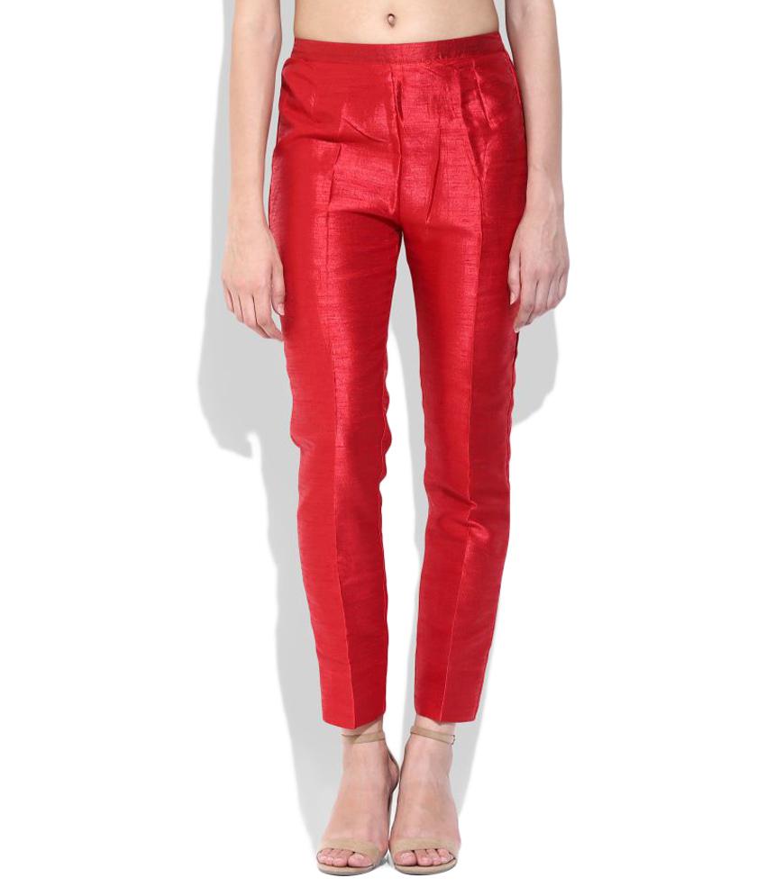 red silk cigarette pants ... LRFPEVD