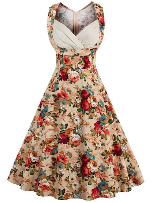 retro dresses retro style high-waisted floral print womenu0027s dress - khaki xl ... CQGUNBF