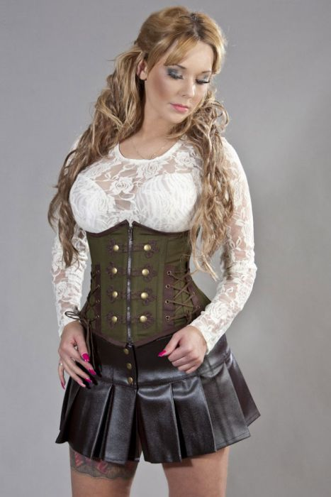 rock underbust corset in olive green and brown twill APCHJIR