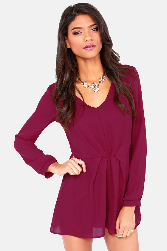 romp and roll burgundy long sleeve romper KNFGPNY