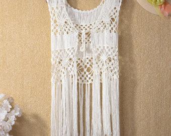 sale fringe crochet vest,hippie festival crochet vest ,crochet beach tops, crochet beach MCZIQNV