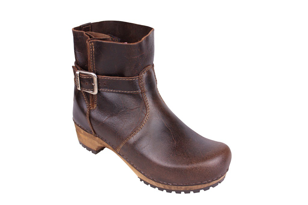 sanita mina dark brown clog boots FGBRPDS