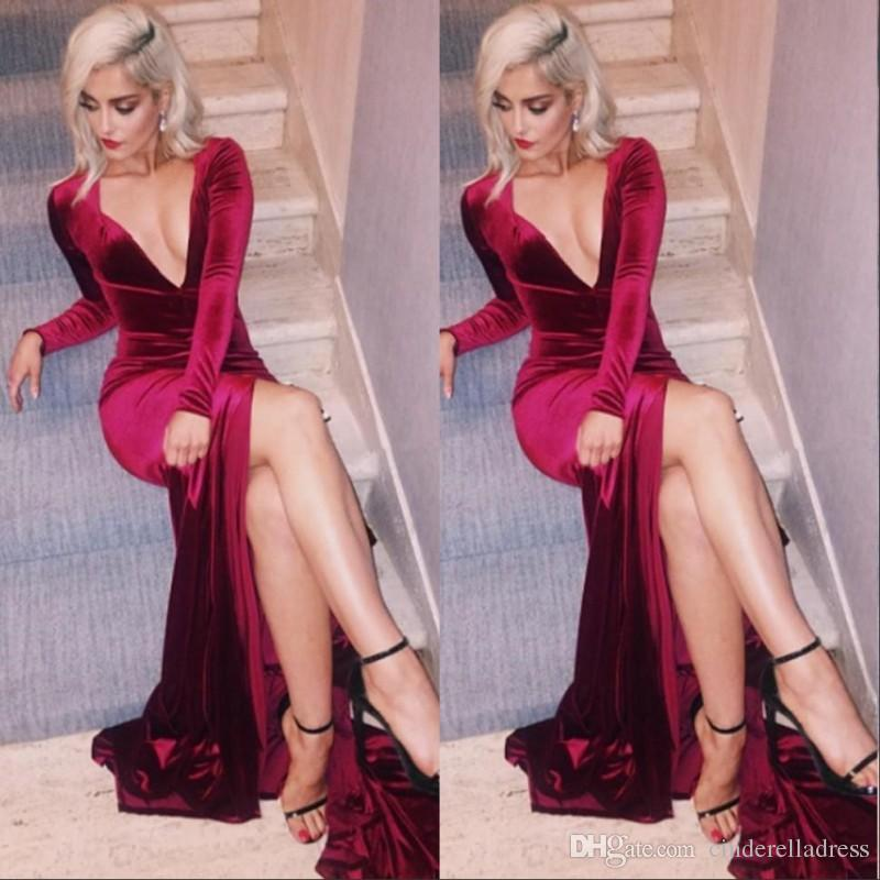 sexy prom dress 2017 dark red deep v neck sexy prom dresses mermaid split high side front EFJAWLR