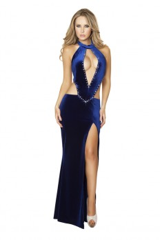 sexy prom dress navy blue rhinestone detail front lit sexy maxi prom dress KKDTQCS