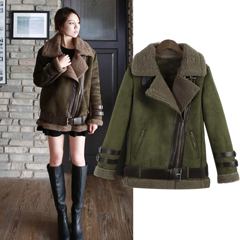 shearling coat new 2016 winter women shearling coats faux suede leather jackets coat faux  lambs wool QVVUSPZ