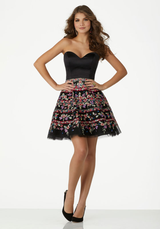 short dresses cocktail u0026 party dresses satin party dress with strapless bodice and floral  embroidered tulle DSATXLC