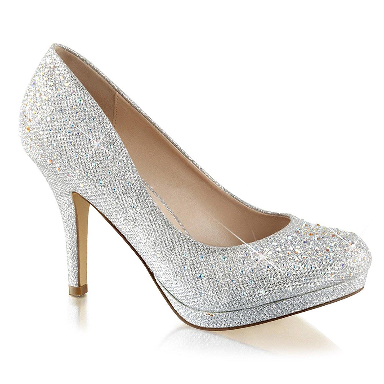 silver glitter heels amazon.com | womens silver rhinestone shoes glitter pumps sparkly high heels  3 1/2 inch FIJQHVJ