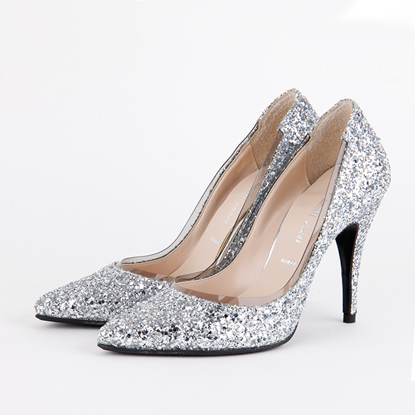 Silver glitter heels for young ladies