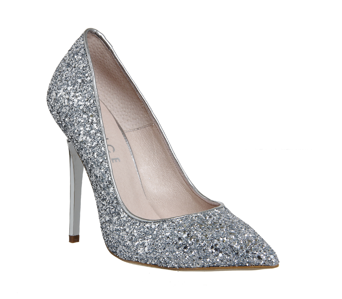 silver glitter heels on to point court heels MSKPHNX