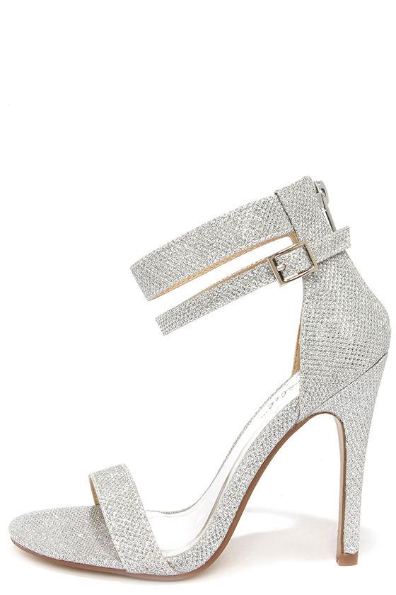 silver glitter heels pretty glitter heels - silver heels - ankle strap heels - $29.00 EDVRABW