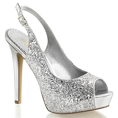 silver glitter heels womens 4.75 inch silver glitter sparkly high heels shoes with slingback  straps size: 6 NCBTQYR