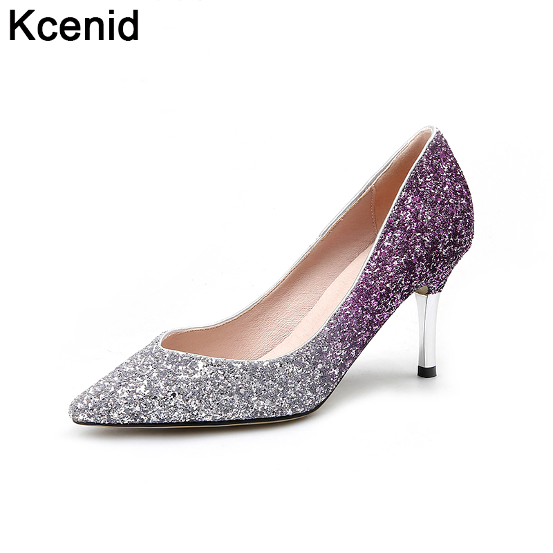 silver pumps kcenid new shoes women 2017 wedding shoes high heel pumps silver glitter  pointed toe CPUTIWZ